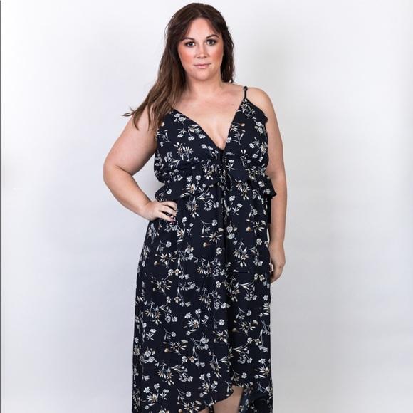 Plus Size Hi Low V Neckline Plunge Maxi Dress Boutique